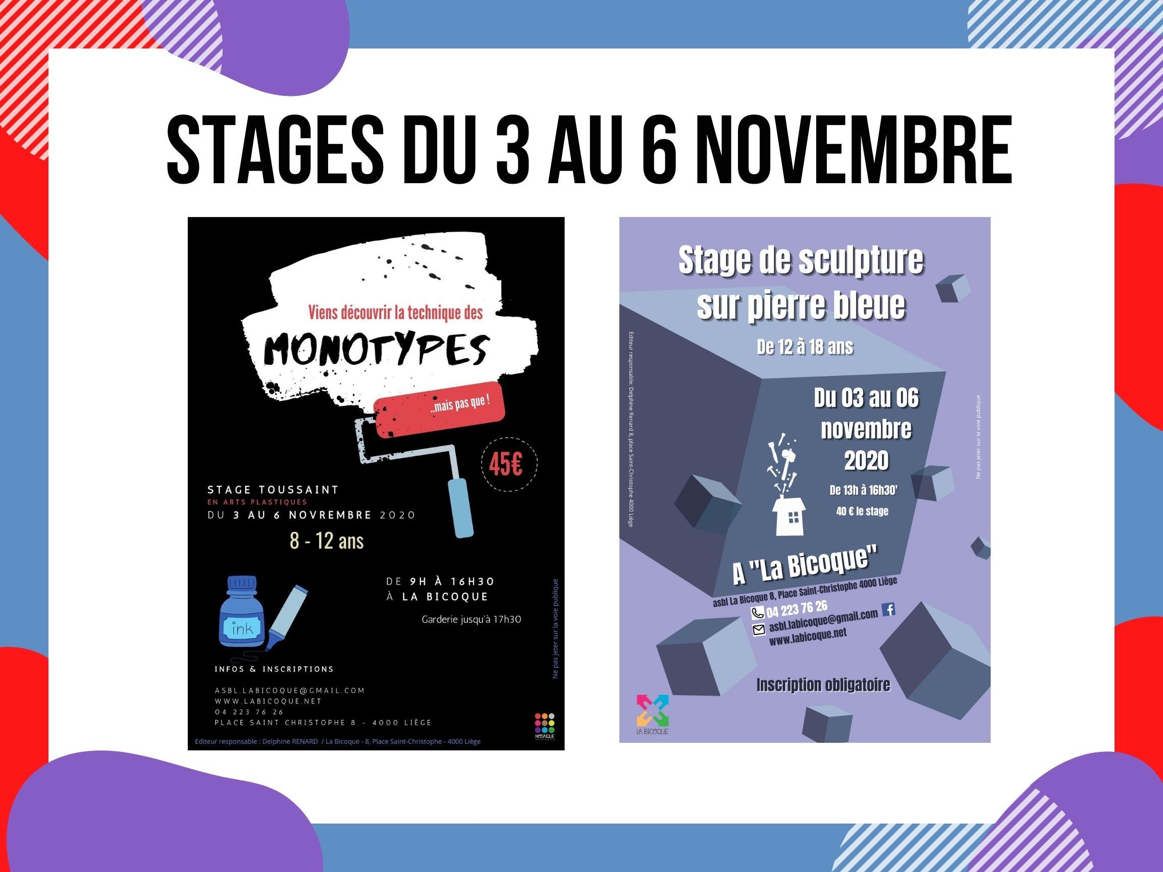 Stages du 3 au 6 NOV